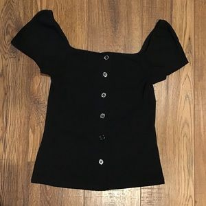 Black ribbed off shoulder top blouse size small